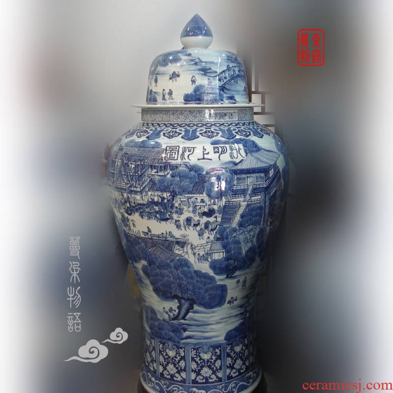 Jingdezhen hand - made ching painting, 130-140 - cm general Jingdezhen hand - made general blue large pot