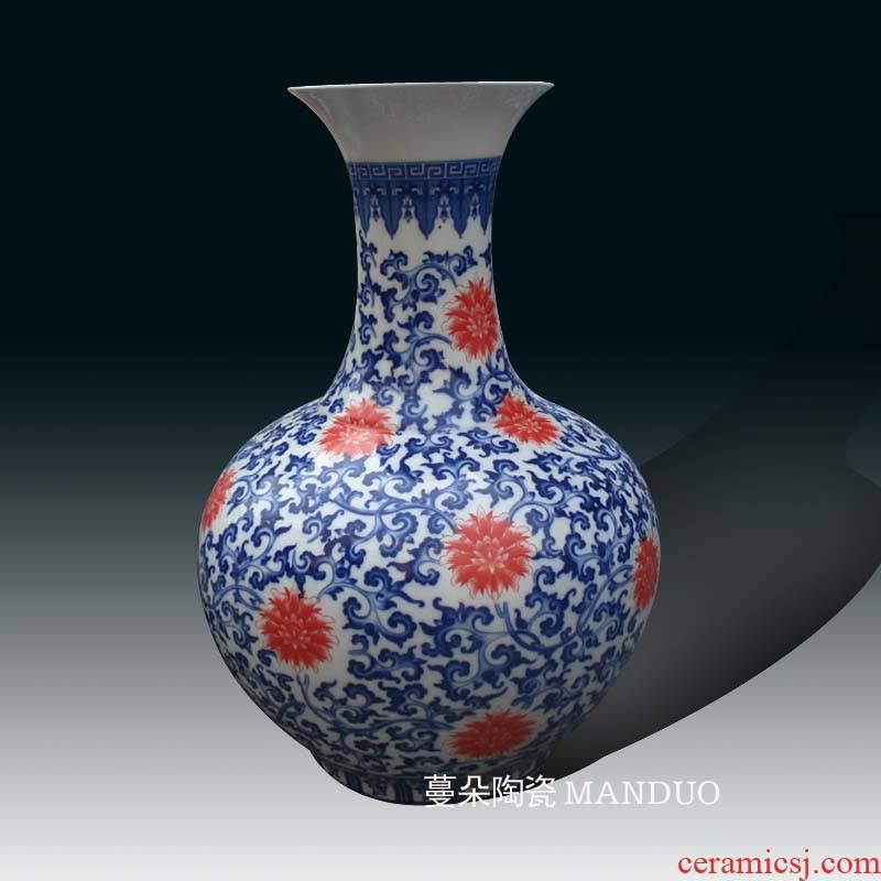 Jingdezhen porcelain bound branch lotus flower head porcelain vase elegant decoration classic blue and white porcelain vase vase
