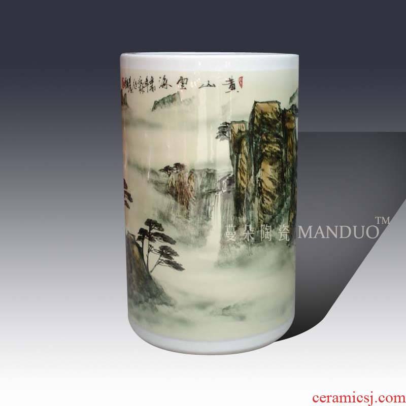 Coarse quiver straight does decorative vase of jingdezhen painting landscape huangshan zealand-based scenic quiver straight vase