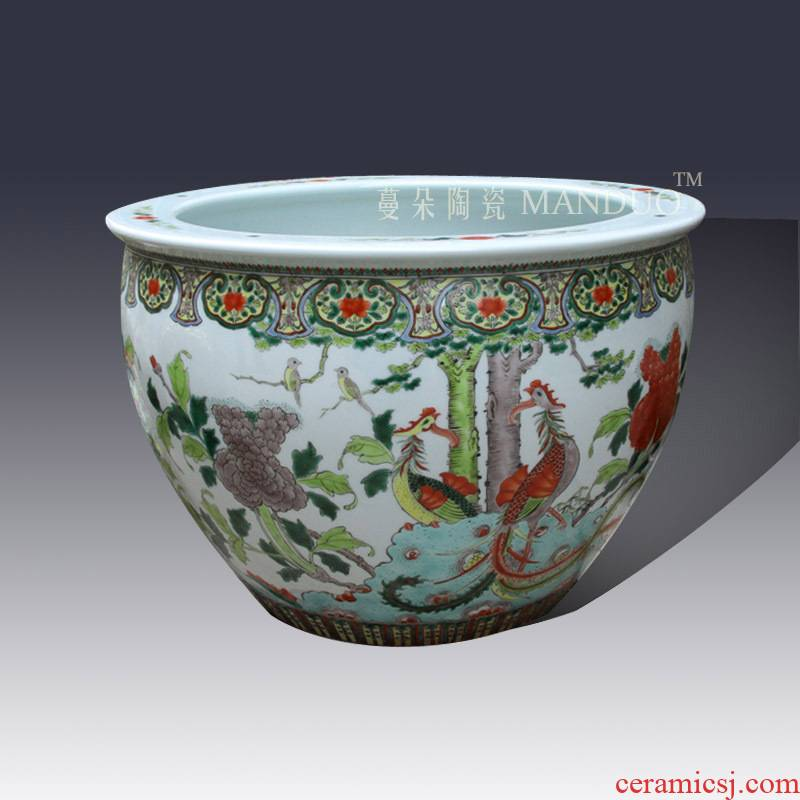 Jingdezhen hand - made color porcelain VAT antique classical big cylinder imitation of the qing dynasty porcelain cylinder