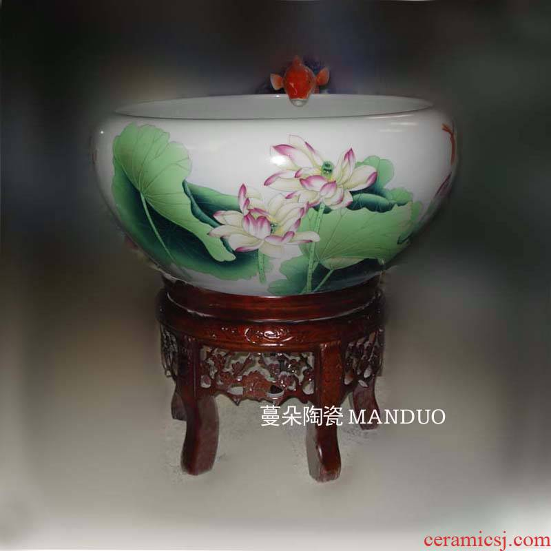 Jingdezhen hand - made lotus circulating water fountain aquarium porcelain circulation tank cylinder high solid wood base
