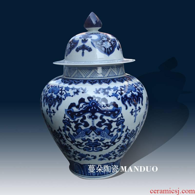 Jingdezhen hand - made porcelain auspicious fish Pisces algae can display adornment blue and white porcelain fish pot rice