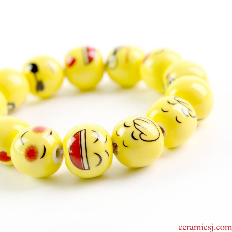 QingGe jingdezhen ceramic bracelet want want expression much money randomly bead bracelet hand string stalls source