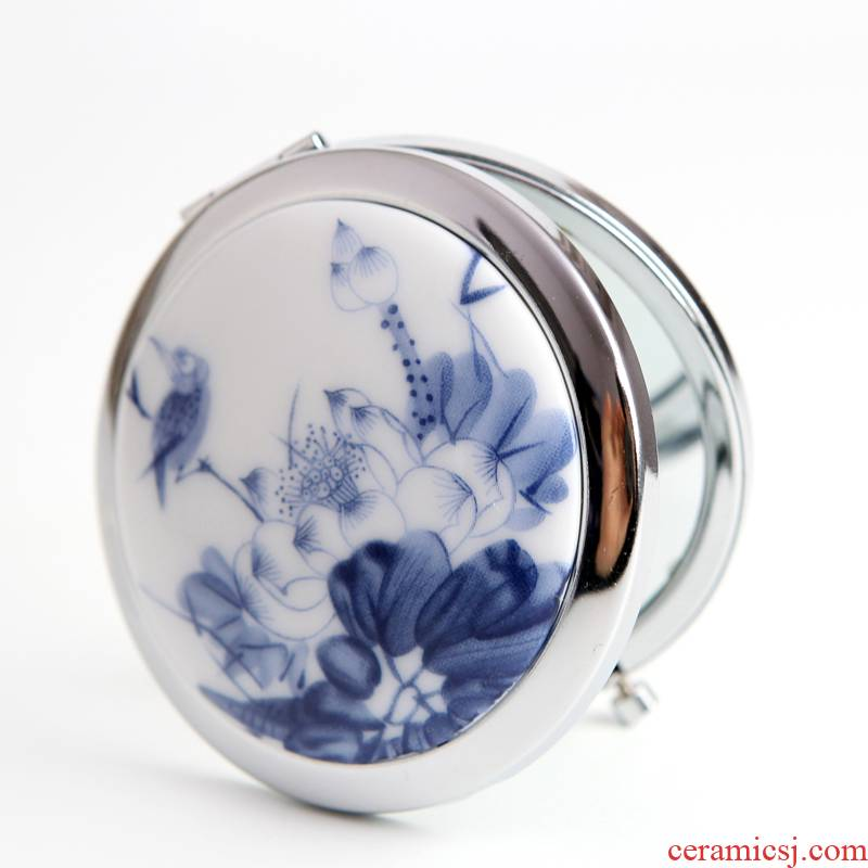 QingGe national wind carry ceramic jewelry folding mirror, cosmetic mirror, lotus blossom put market. I supply of goods