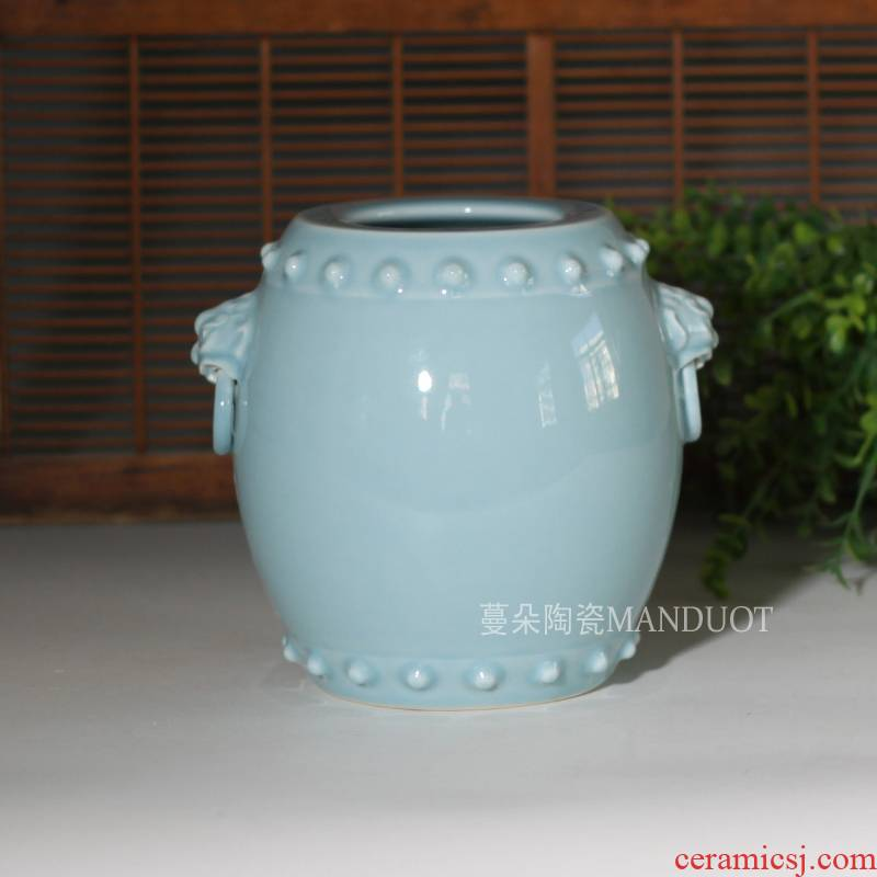 Jingdezhen waist drum shape porcelain double head brush pot elegant antique porcelain furnishing articles waist drum