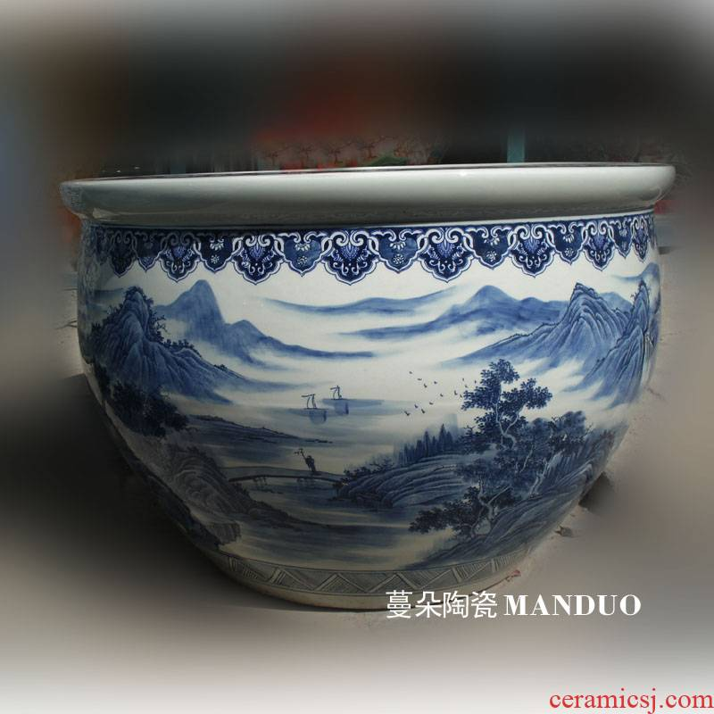 Jingdezhen blue and white landscape oversized hand - made porcelain big fish lotus lotus cylinder cylinder diameter 90-1 m