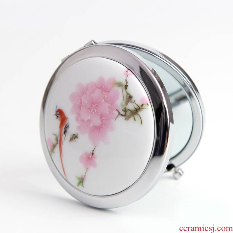 QingGe folded and cosmetic mirror the national wind ceramic jewelry water points peach blossom put double - sided market. I source