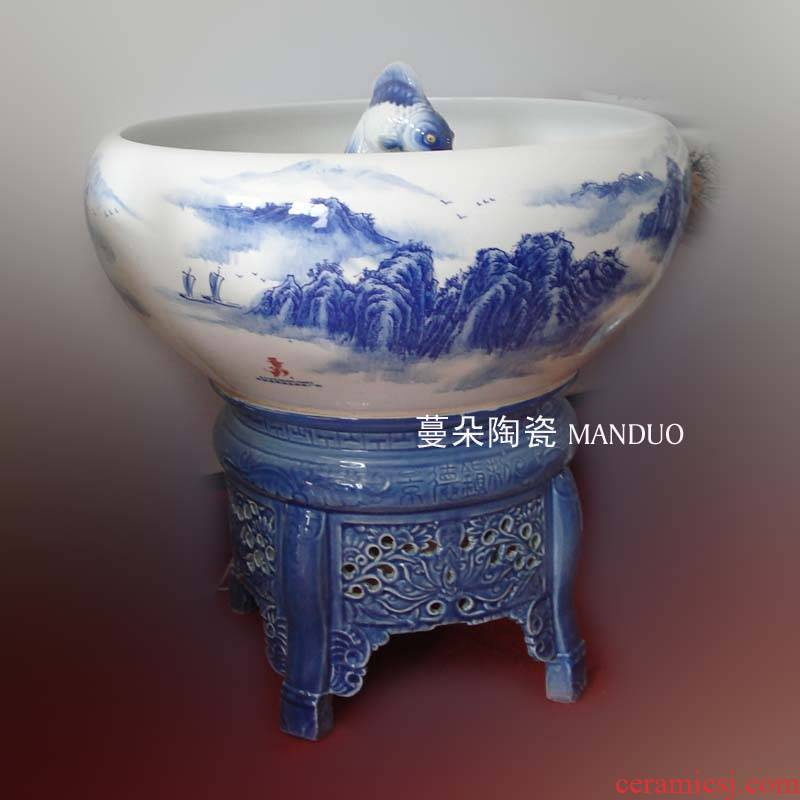 Jingdezhen inner spray spray Jingdezhen porcelain porcelain porcelain aquarium fish fountain water cycle system in the middle