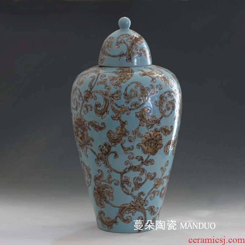 Jingdezhen classical European ceramic vase vase continental curve pattern lid new decorative vase