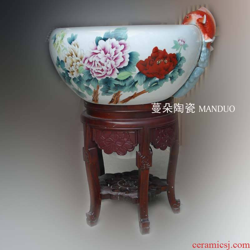 Hand very beautiful peony color filter water fountain porcelain jingdezhen wood fountains fish tank