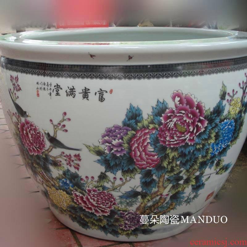 Jingdezhen porcelain peony riches and honour of the big cylinder elegant color sitting room big courtyard lotus cylinder cylinder diameter of 70