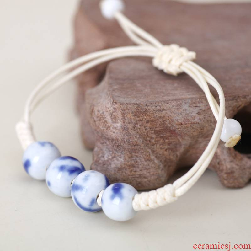 QingGe jingdezhen ceramic bead bracelet with manual compiled the first jewelry blue and white porcelain bracelet national wind market. I source