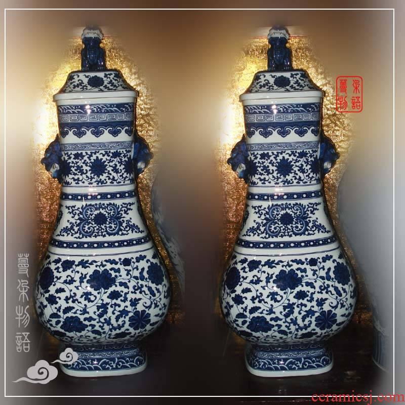 Square benevolent jingdezhen porcelain statute of a lion qianlong Square bottles style antique porcelain porcelain vase