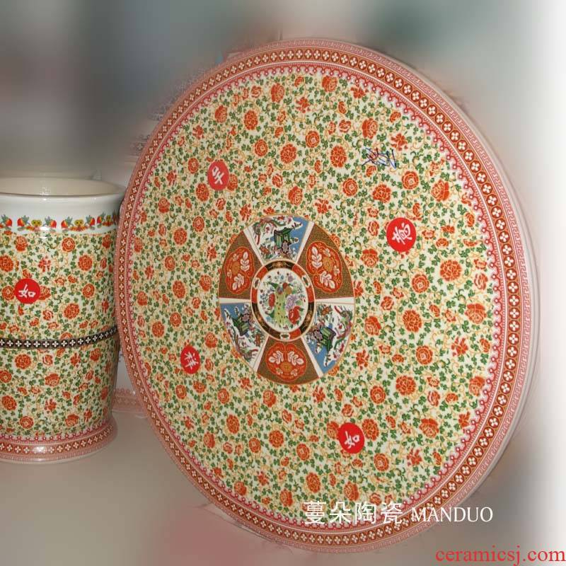 Jingdezhen traditional famille rose auspicious ceramic table set porcelain museum culture exhibition center of the table