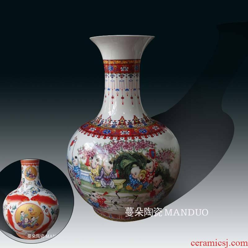 Jingdezhen lad tong qu decorative porcelain vases red carp porcelain bottle is great reward the lad carp red vase