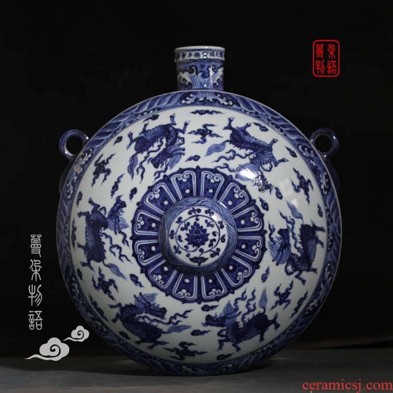 Blue and white porcelain flat bottles of Blue and white hanging benevolent porcelain vase seawater jintong hanging vases, kirin