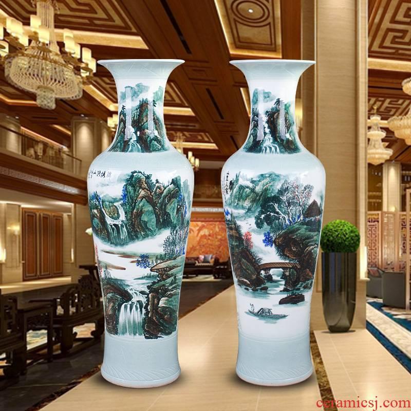 Jingdezhen of large vases, hand - made color ink landscape ceramic vase modern housewarming sitting room adornment is placed