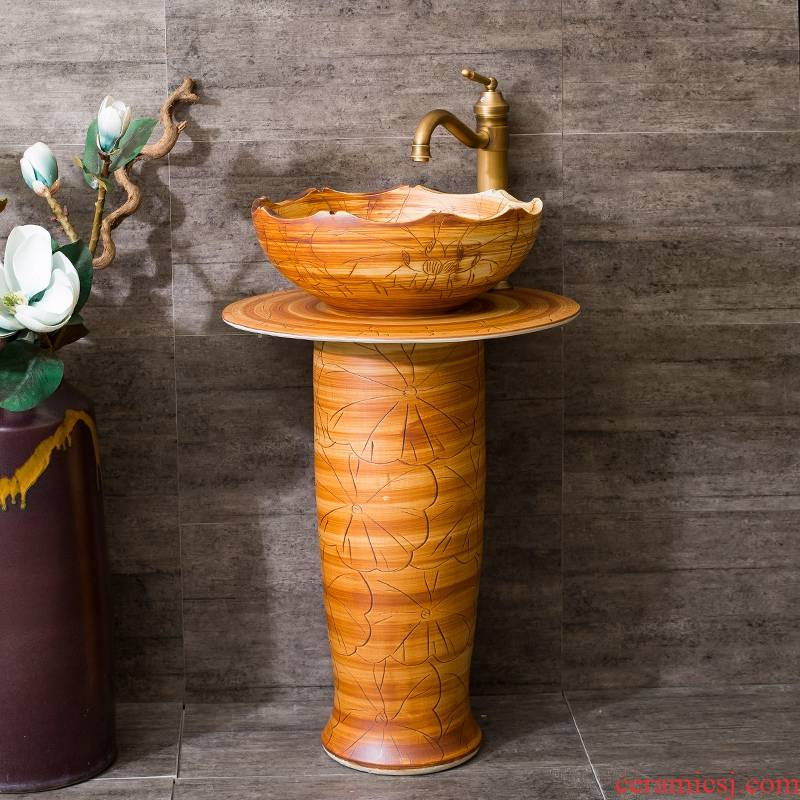 Spring rain ceramic basin of pillar type lavatory toilet lavabo one floor balcony art pillar its