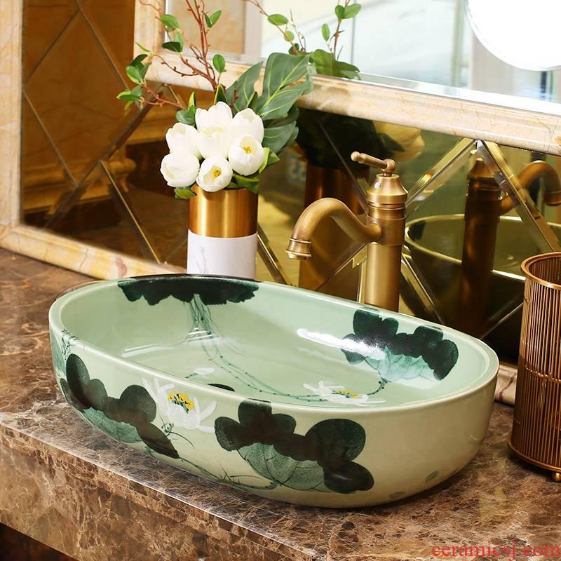 Jingdezhen rain spring basin art ceramic table suits for balcony water lavatory toilet oval sink