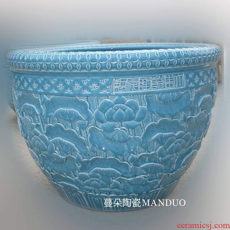 Jingdezhen porcelain crock embossed lotus elegant sitting room adornment with monochromatic pure color porcelain porcelain cylinder cylinder company