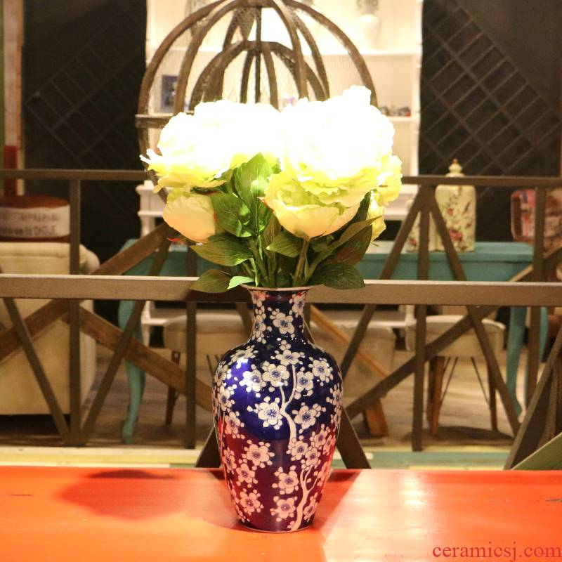 【 】 in the geometry space of jingdezhen ceramic hand - made of ice name plum bottle of flower arrangement, household adornment handicraft furnishing articles