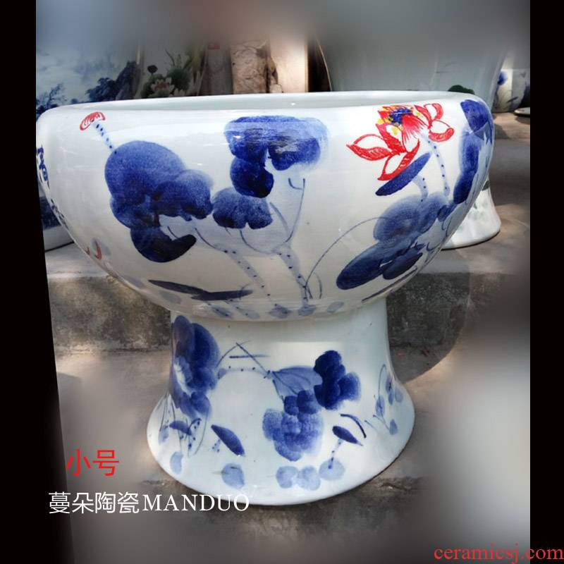 Jingdezhen high ceramic porcelain high aquarium fish breeding goldfish turtle cylinder cylinder M a high - end art