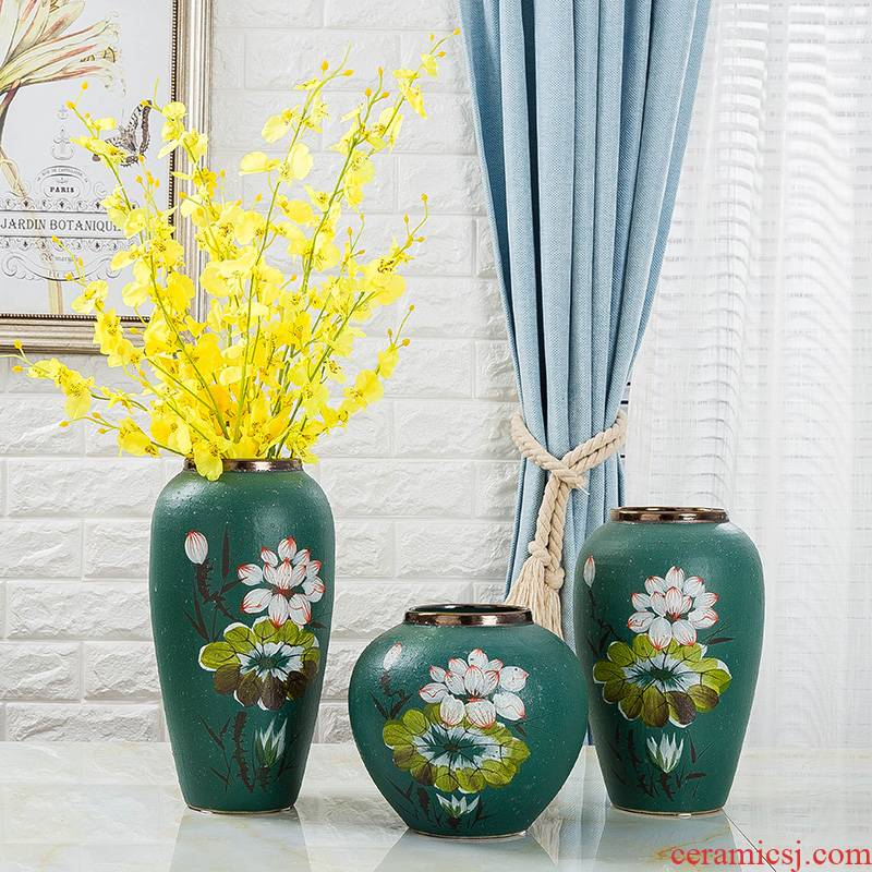 Jingdezhen ceramic vase hand - made painting of flowers and dried flowers, flower arrangement sitting room porch decorate household furnishing articles of Chinese style restoring ancient ways