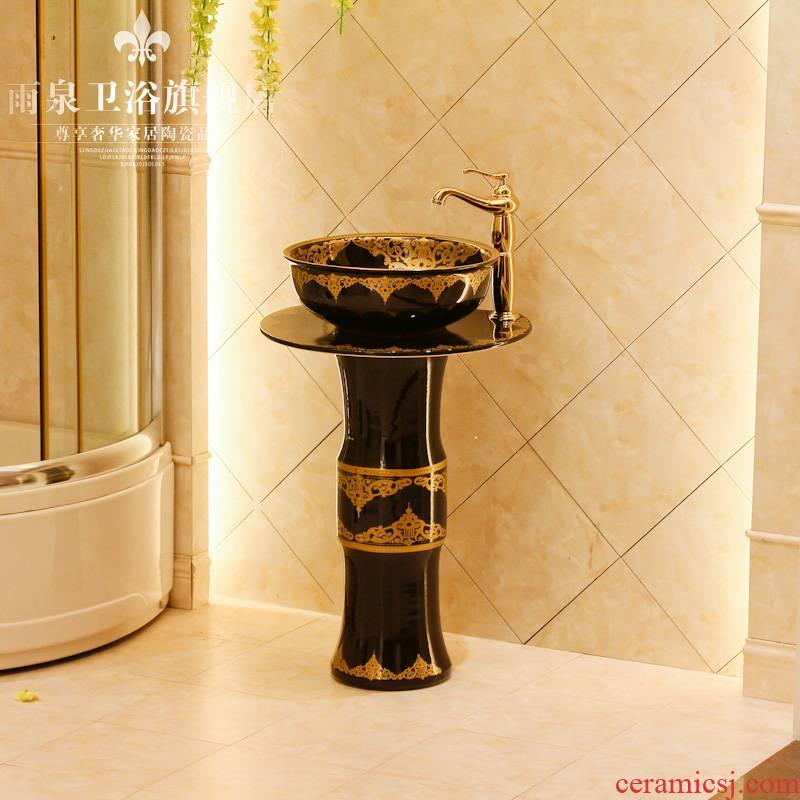 Jingdezhen art lavatory basin sink the post column basin conjoined one - piece the lavatory basin ceramics