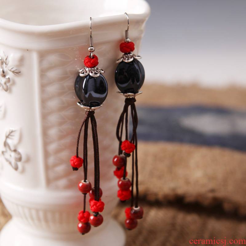 QingGe national wind earrings long temperament cloth art ceramic eardrop Chinese wind restoring ancient ways ancient costume earrings booth in supply