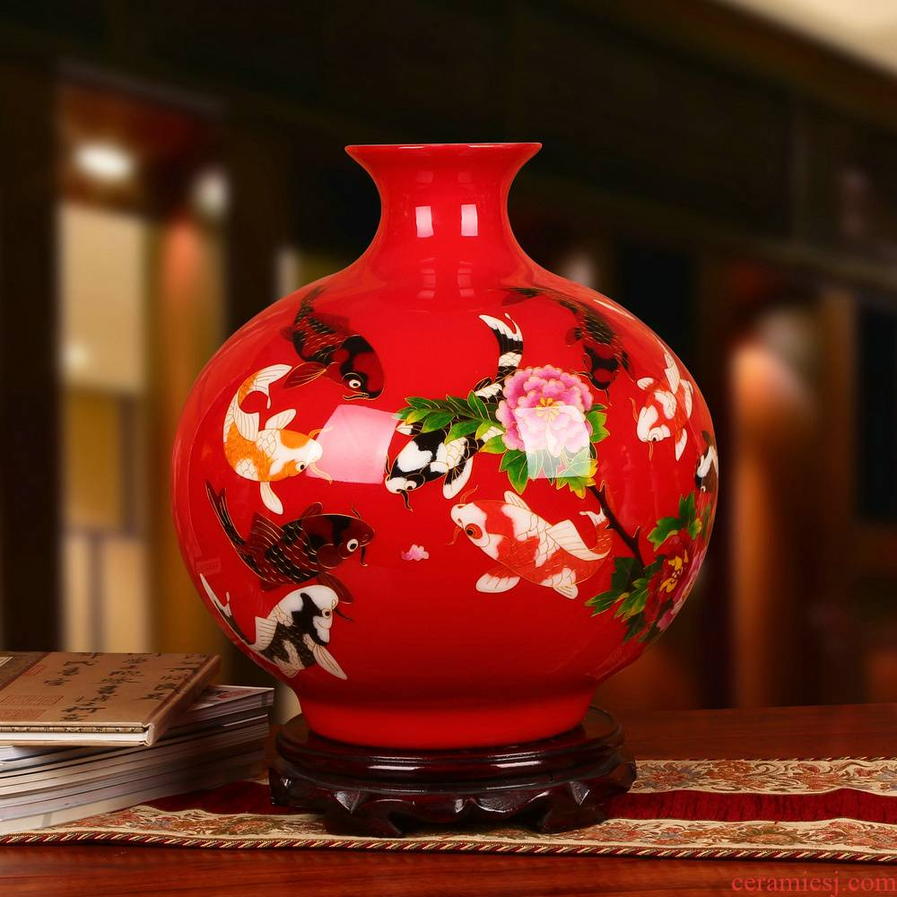 Jingdezhen ceramics gold straw red fish every year China vase modern fashionable Chinese style household decoration