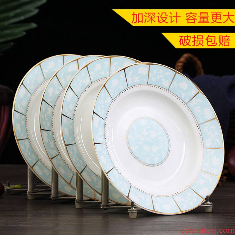 Jingdezhen round dish dish four creative contracted household ceramics steak Chinese food dish plate suit