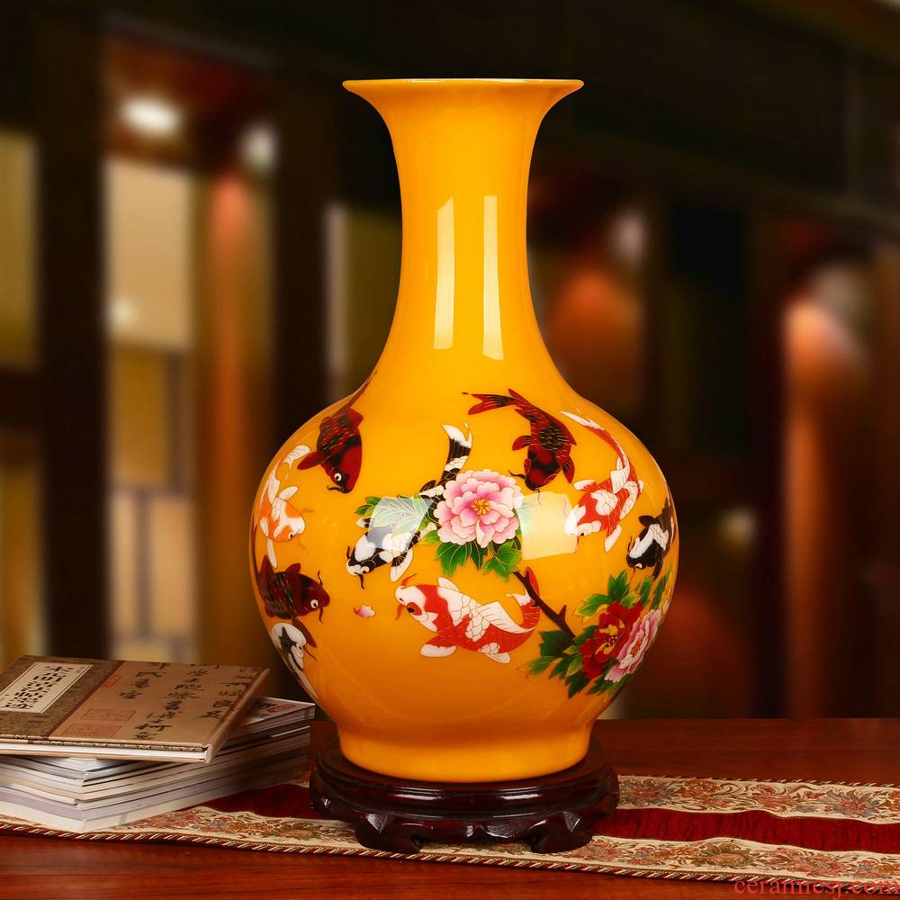 Jingdezhen ceramics palace yellow gold straw, year after year have fish vase was Chinese style classical home furnishing articles