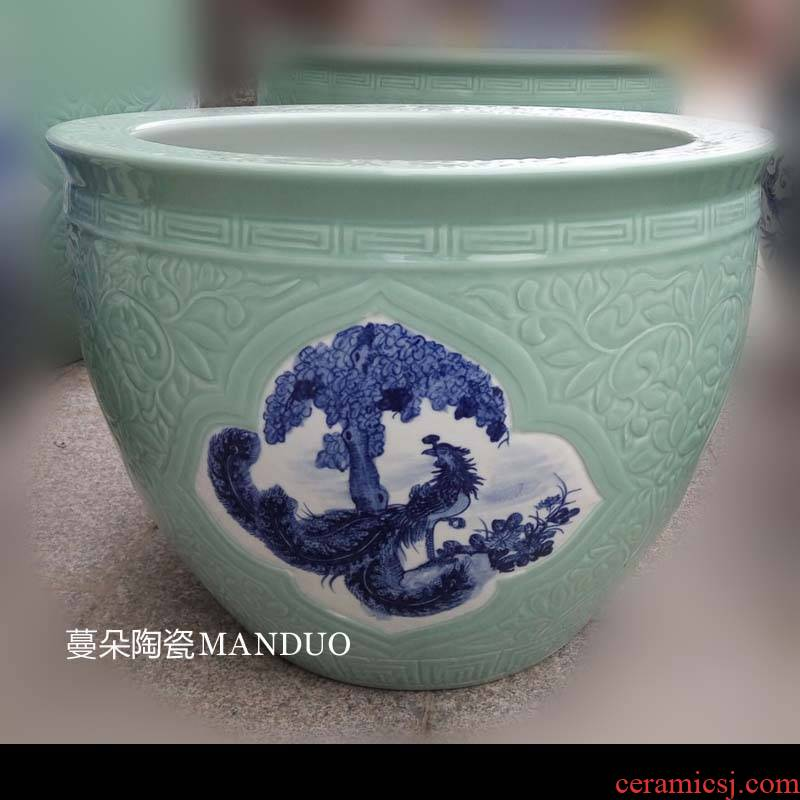 Jingdezhen hand - made jiangnan landscape ceramic porcelain is big sitting room hall study culture vats and calligraphy cylinder