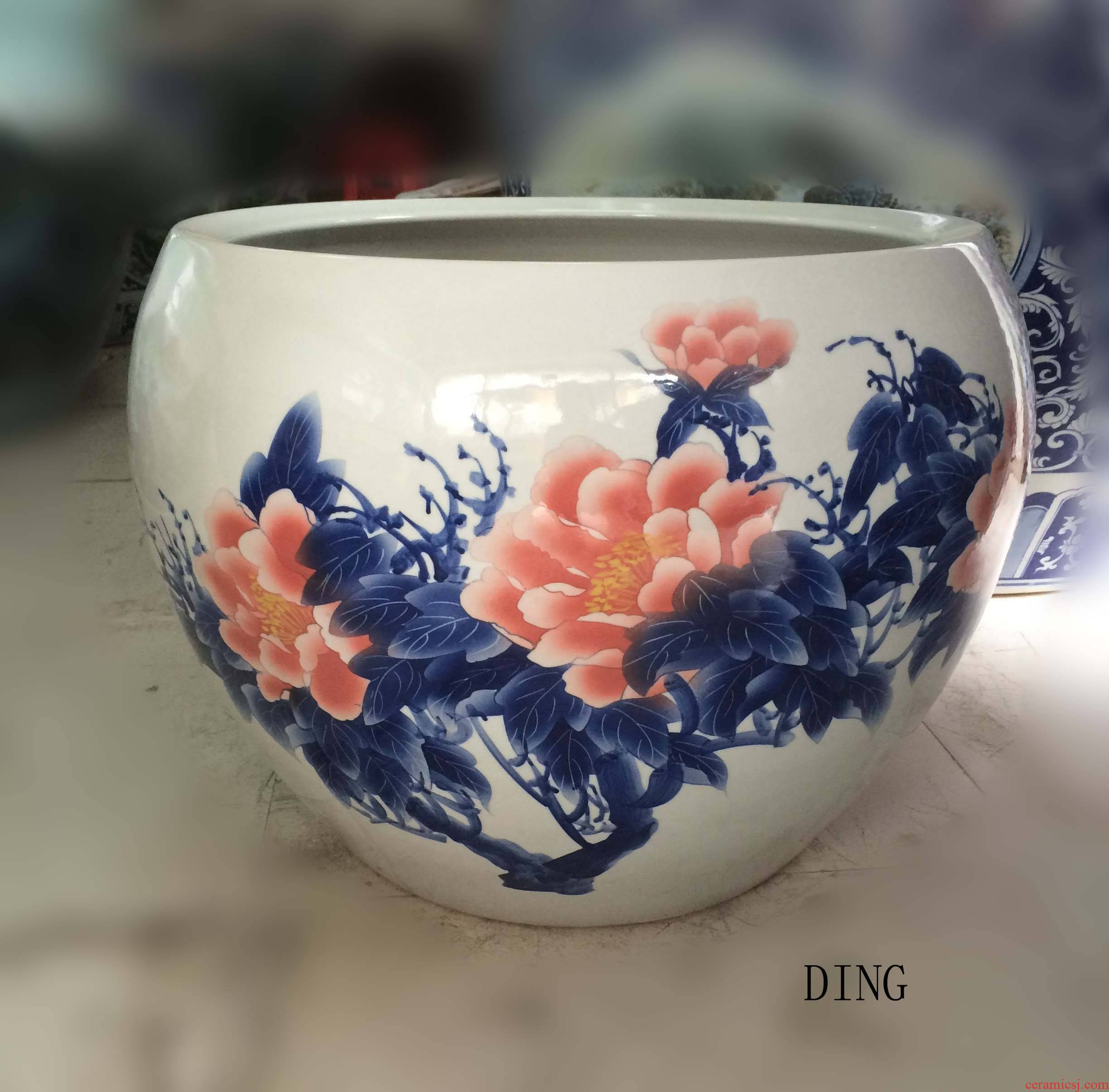 Jingdezhen hand - made apple home furnishings elegant peony cylinder cylinder diameter 60 cm cylinder