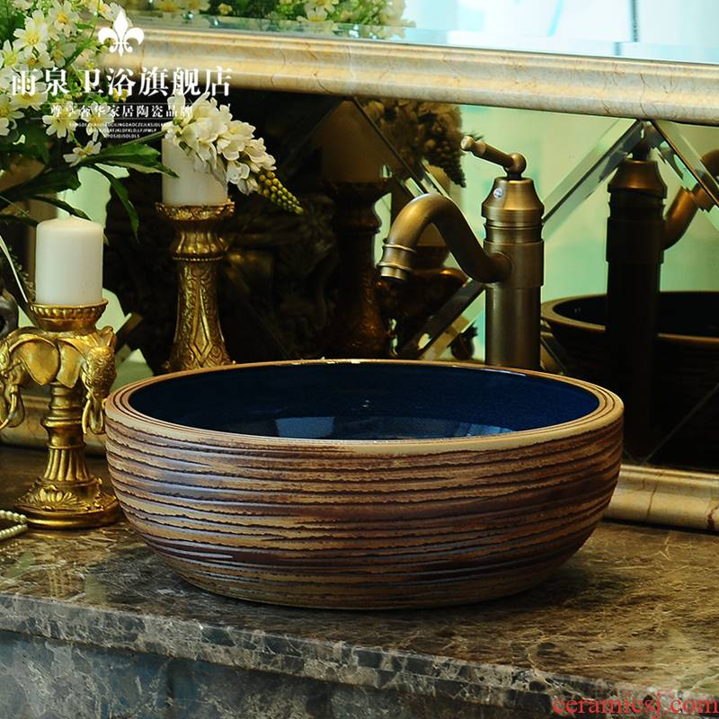 The stage basin sinks circular carving thickening basin hotel toilet lavabo lavatory archaize ceramic art