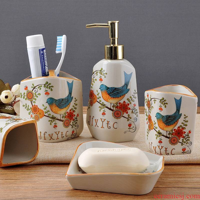 Ice to crack the set ceramic bathroom sanitary ware has five group of mouthwash bottle gargle liquid soap dish checking ware wedding gifts