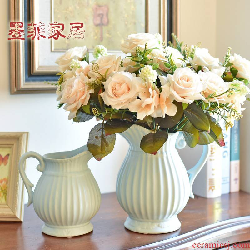 Nordic ceramic vases, small ornament, creative living room contracted household table simulation flowers, dried flowers, flower arrangement ornament