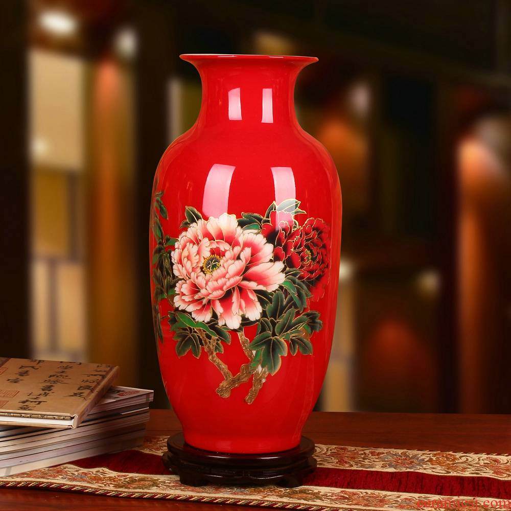 Chinese red straw jingdezhen ceramics vase peony riches and honour of Chinese style wedding anniversary gifts decorative furnishing articles
