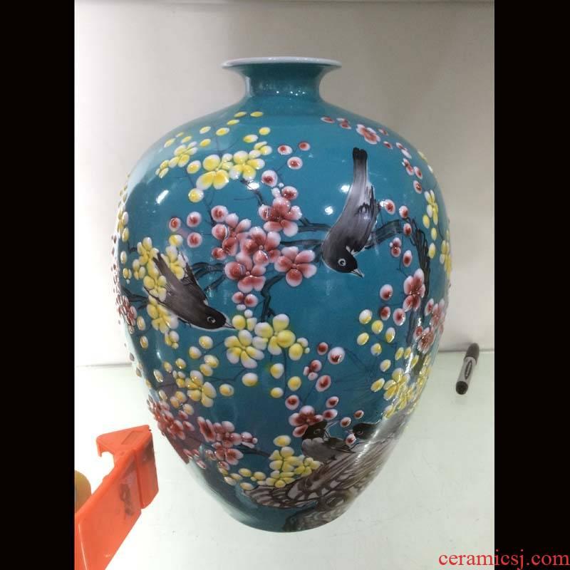 Jingdezhen 35 cm high pastel celestial idea gourd pomegranate ceramic vases, ceramic vases, decorative furnishing articles furnishing articles and flowers and birds
