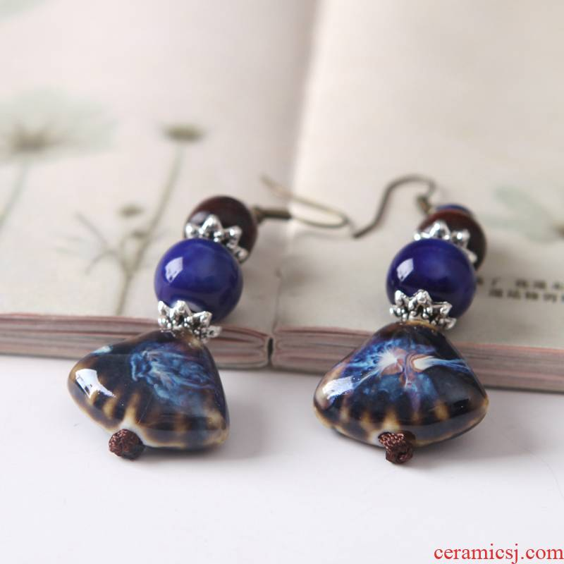 Fan type earrings QingGe blue ceramic national wind restoring ancient ways is exaggerated earrings the original manual street source of ears