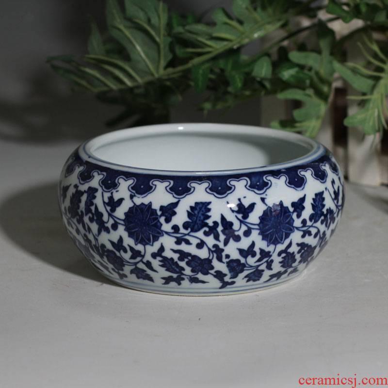 Writing brush washer move of jingdezhen blue and white porcelain porcelain ashtrays blue and white porcelain shells cylinder plates