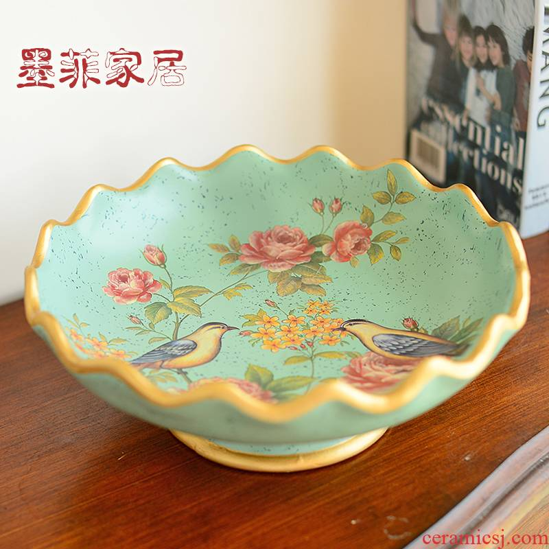 American compote ceramic large fruit bowl restoring ancient ways furnishing articles dry fruit tray key-2 luxury European - style home sitting room tea table trays