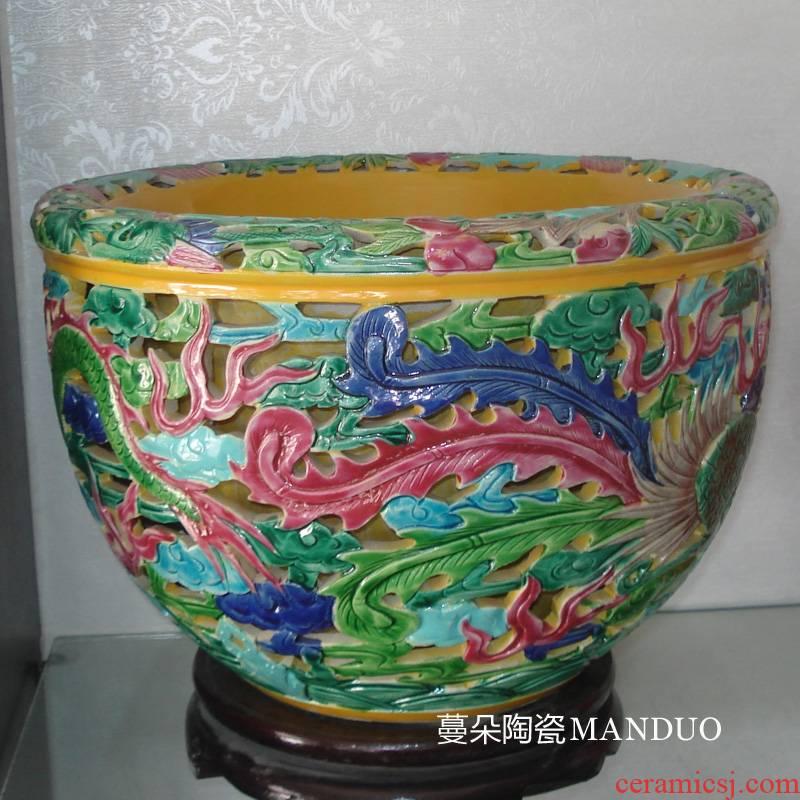 Jingdezhen ceramic deep carved dragons and phoenixes small grain porcelain porcelain cylinder cylinder shallow furnishings porcelain