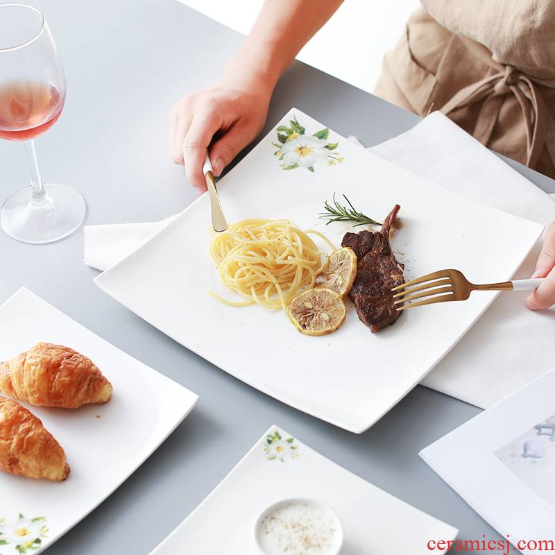 Plate beefsteak disc white party of flat dish Plate all the cake Plate ceramic tableware dish fish dishes