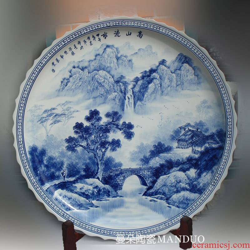 Hand made blue and white landscape big porcelain jingdezhen 1 meter mountain stream grail penjing art ground plate