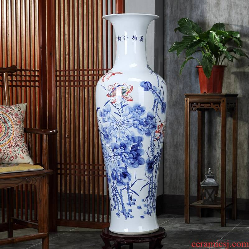 Jingdezhen ceramic fish landing big vase hand - made lotus landscape ceramic vase sitting room home decoration