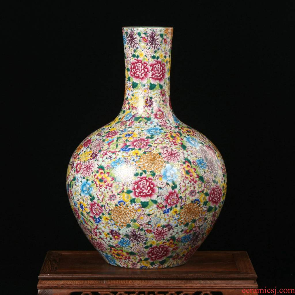 Jingdezhen ceramics vase archaize principal enamel vase pastel color than classical hand - made furnishing articles ornaments