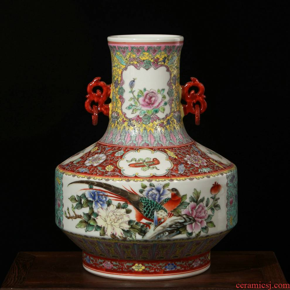 Antique hand - made enamel factory goods jingdezhen vase peony flowers and birds ears ceramic vases, restore ancient ways the adornment that occupy the home