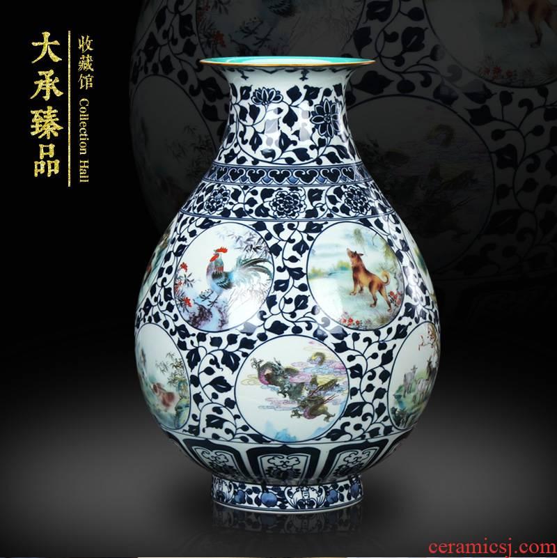 Jingdezhen ceramics antique blue - and - white bucket color decorative vase sitting room, study Chinese zodiac handicraft furnishing articles
