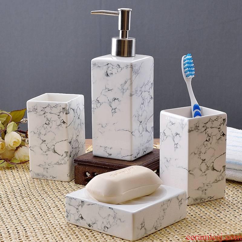 European creative theme 4 times brushing mouthwash cups set ceramic gargle for wash gargle suite